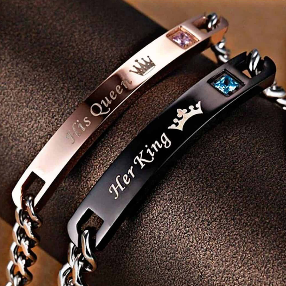 king and queen bracelets black and rose gold