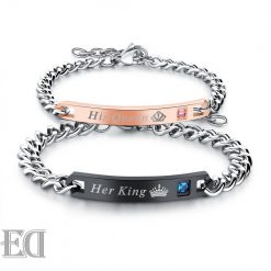 king queen bracelets black rose gold gifts couples