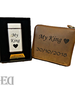 self customized engraved wallet gift for men and lighter