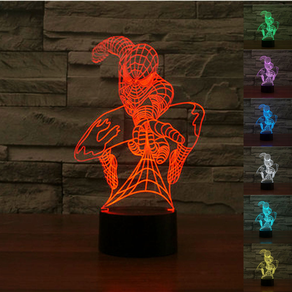 spiderman changing colors night light for kids