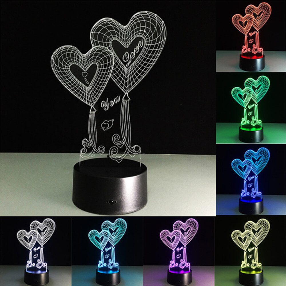 twin hearts night light changing colors