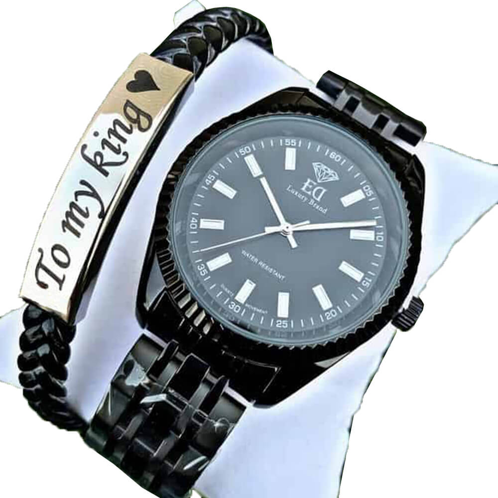 watch and bracelet set black